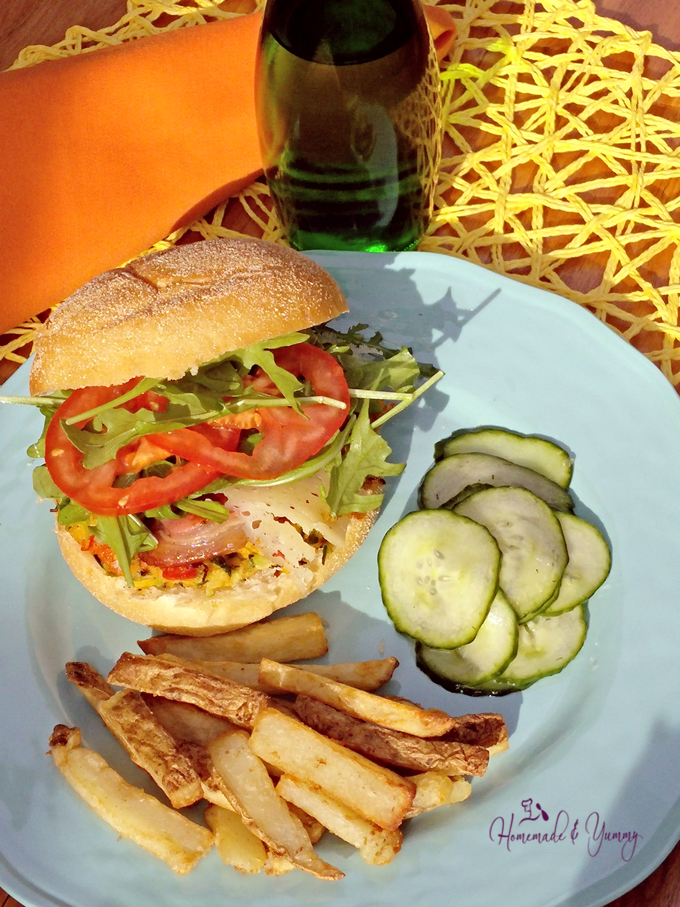 Zucchini Burger with Sriracha & Pancetta....salad and fries!!