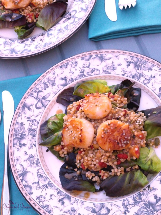 Closeup shot of Buckwheat & Scallop Salad with Fresh Orange Dressing