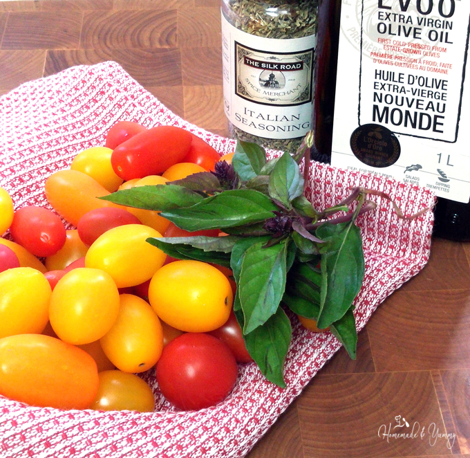 Recipe ingredients, tomatoes, seasoning and olive oil.