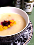 Potato & Leek Soup with Roasted Beets| from: Homemade & Yummy| The classic potato and leek combination with the added sweetness of roasted beets. Earthy, savoury and oh so pretty to look at.