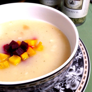 Potato & Leek Soup with Roasted Beets
