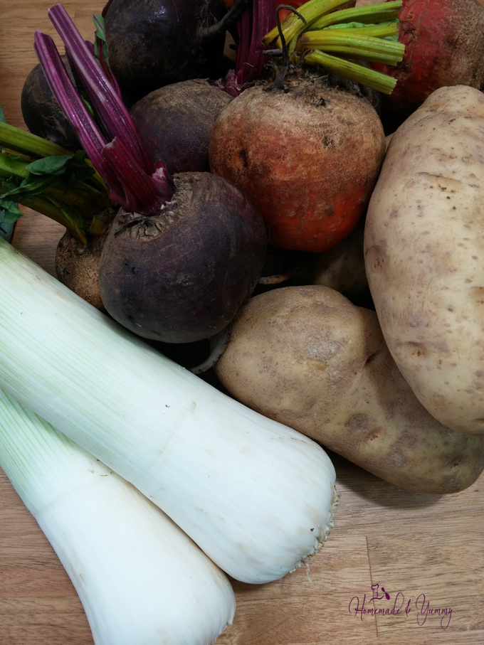 Recipe ingredients, potatoes, leeks and beets.