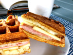 Waffle Sandwich | Cornmeal waffles surround apples, ham and cheese to create the ultimate breakfast sandwich!! | homemadeandyummy.com