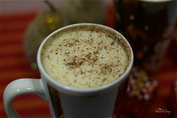 Closeup of eggnog latte ready to drink.