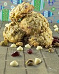 Oatmeal Cranberry Cookies with White Chocolate & Pistachios | homemadeandyummy.com