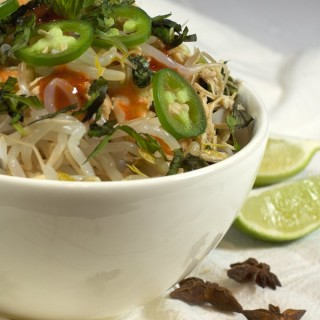 Simple Slow Cooker Pho packed with chicken, shrimp and heat from jalapeños and Sriracha | homemadeandyummy.com