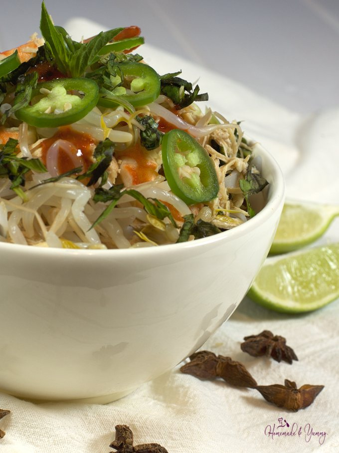 Closeup of Simple Slow Cooker Pho in a bowl.