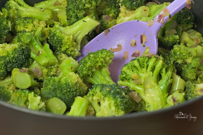 Broccoli cooking in a pot, ready to make soup.