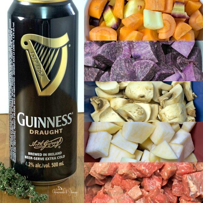 Collage of stew ingredients.