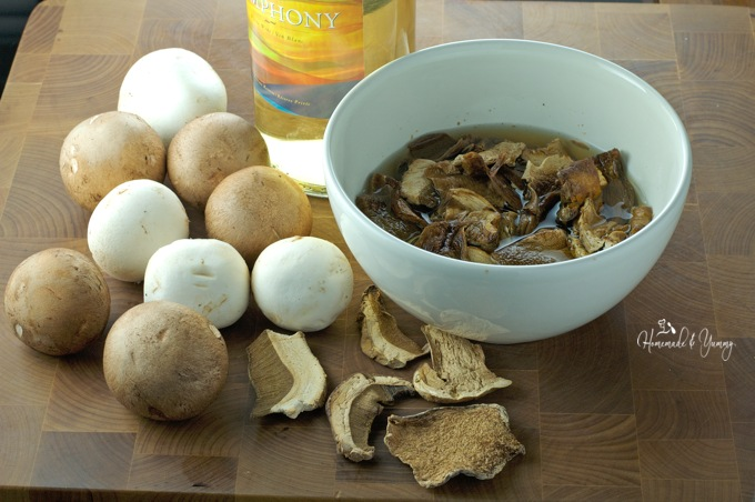 Fresh mushroom, dried mushrooms and wine soup ingredients.
