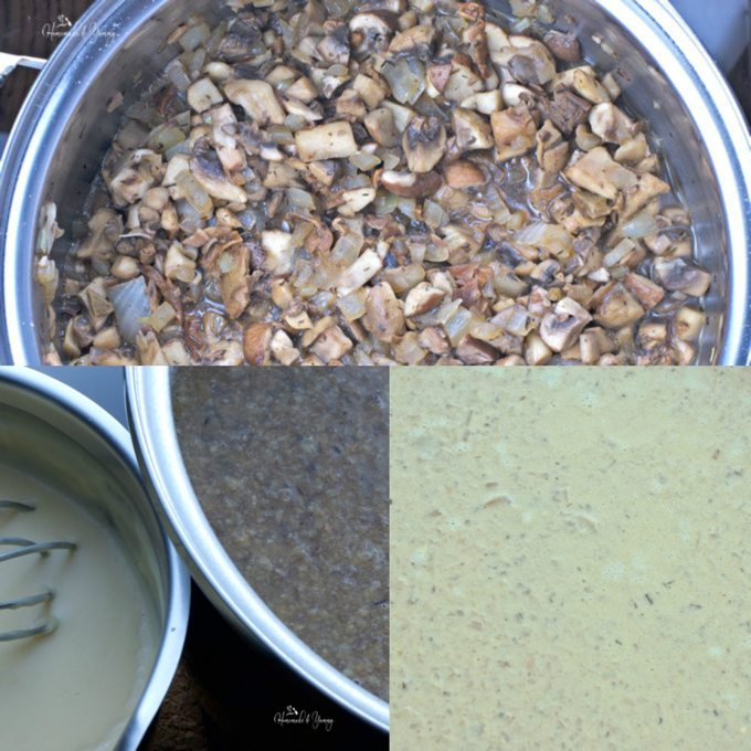 Collage of soup process pictures.