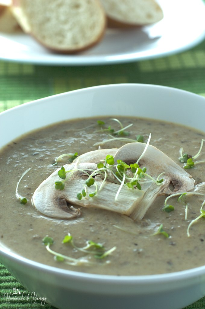 Closeup of mushroom soup in a bowl.