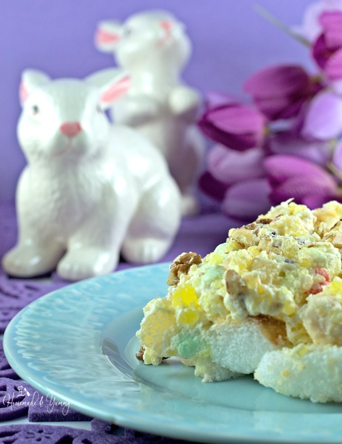 Pastel colours, white fluffy clouds and the warm sun all combine to make Spring Delight the perfect Easter dessert. | homemadeandyummy.com