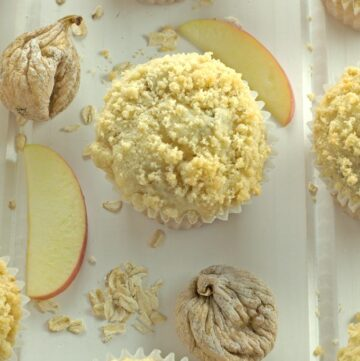 Apple Fig & Oatmeal muffins on the counter (hero shot)