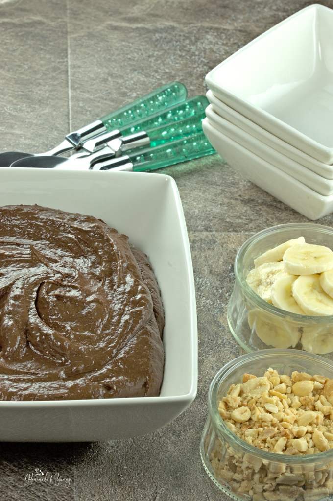 Banana Chocolate pudding in a large bowl ready for serving.