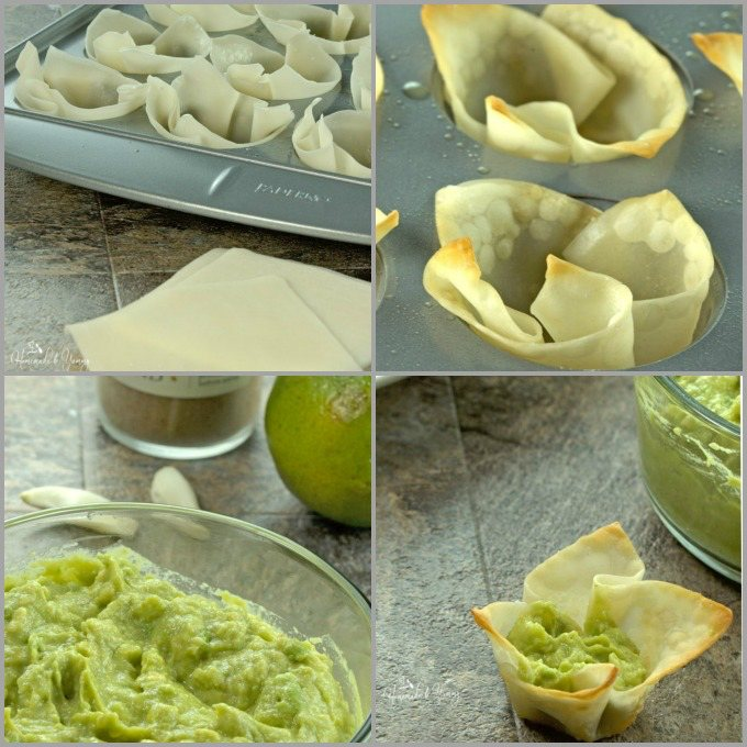 Collage image of the process to make the appetizers.