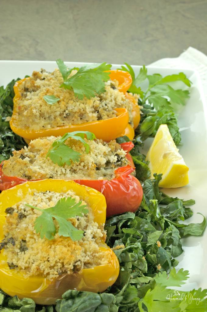 Closeup of stuffed peppers on a plate, ready to serve.
