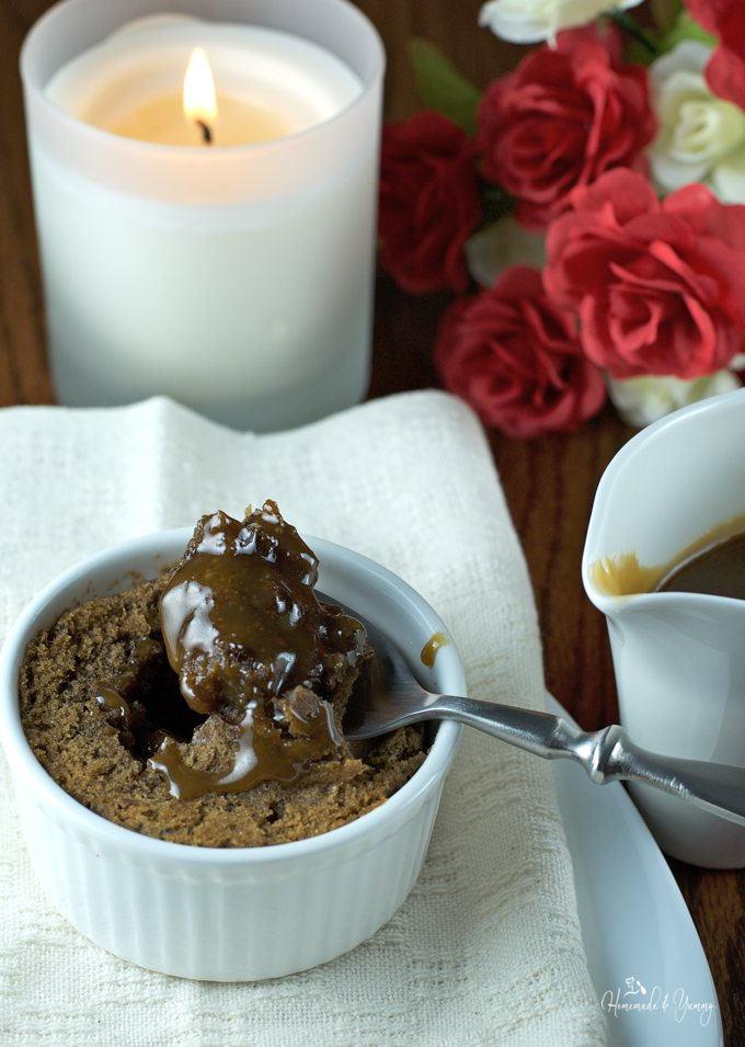 If you love warm, sweet, decadent desserts, then this Sticky Toffee Pudding (Pressure Cooker) is calling your name! Steamy warm pudding with a rich caramel sauce. | homemadeandyummy.com