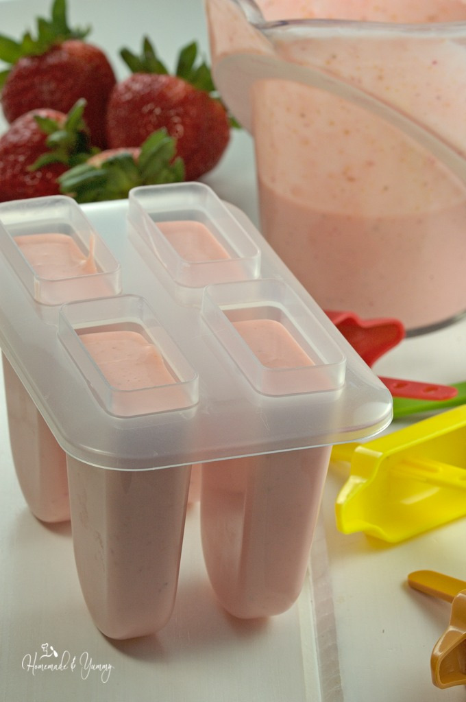 Cheesecake batter in popsicle molds.