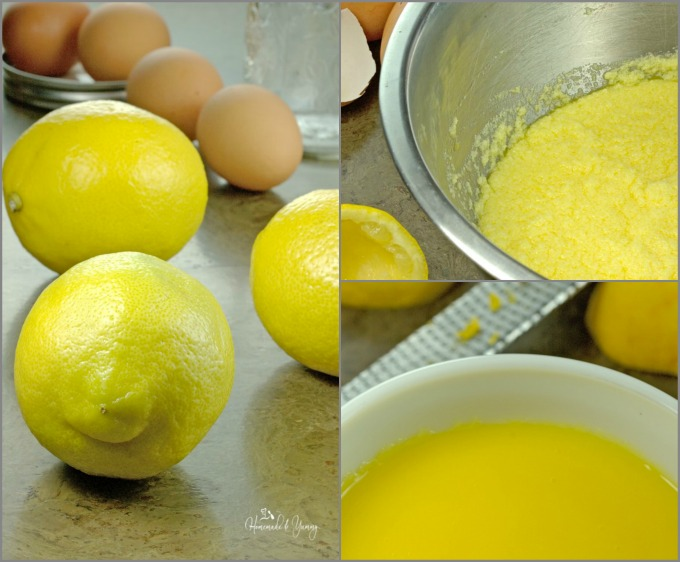 Collage of pictures showing the process of making lemon curd.