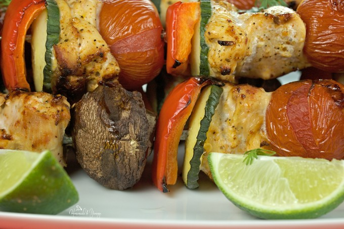Grilled Chili Lime Chicken Skewers are perfect for backyard BBQ feasts. Seasoned chunks of chicken along with veggies, are easy to make, and always a hit!! | homemadeandyummy.com