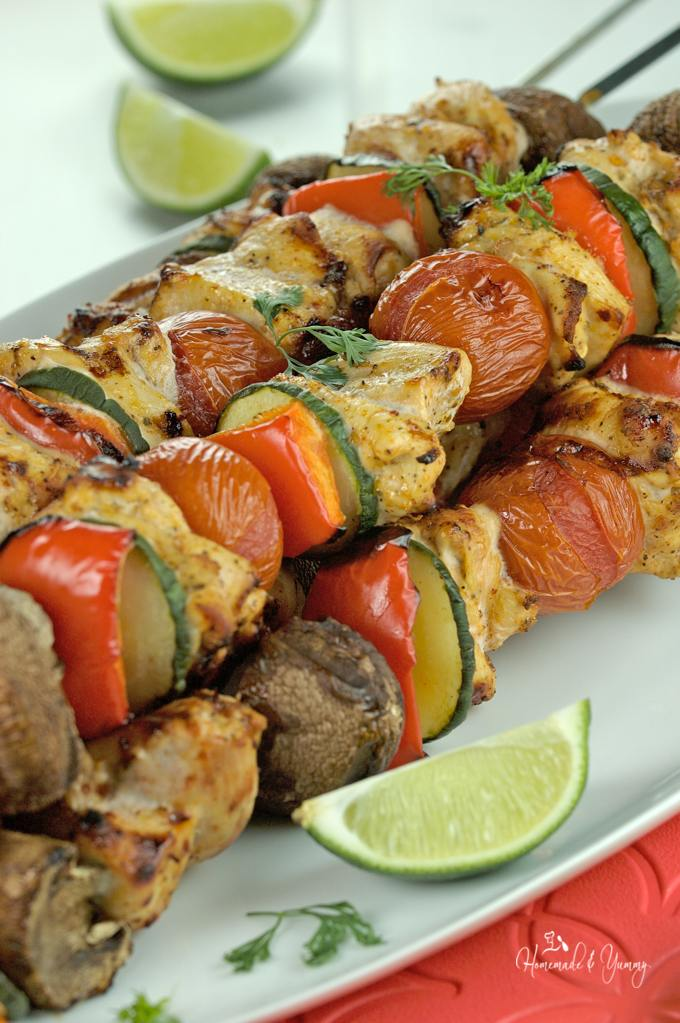 Grilled Chili Lime Chicken Skewers on a serving platter.
