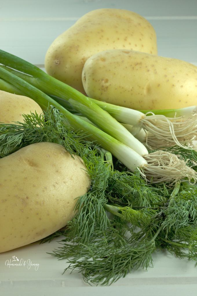Recipe ingredients, potatoes, green onion and dill.