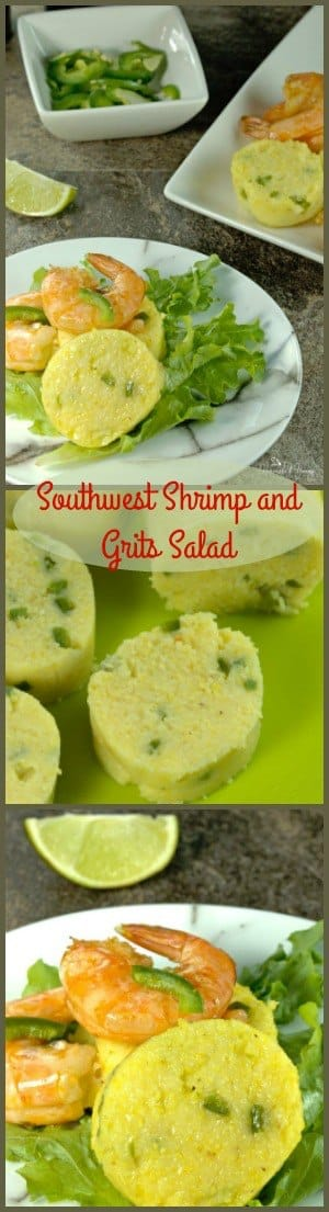 Southwest Shrimp and Grits Salad is a little twist on a classic dish. Grilled cajun shrimp and discs of jalapeno grits on a bed of greens with a touch of smokey flavour. BONUS: This can be made Gluten Free!! |homemadeandyummy.com