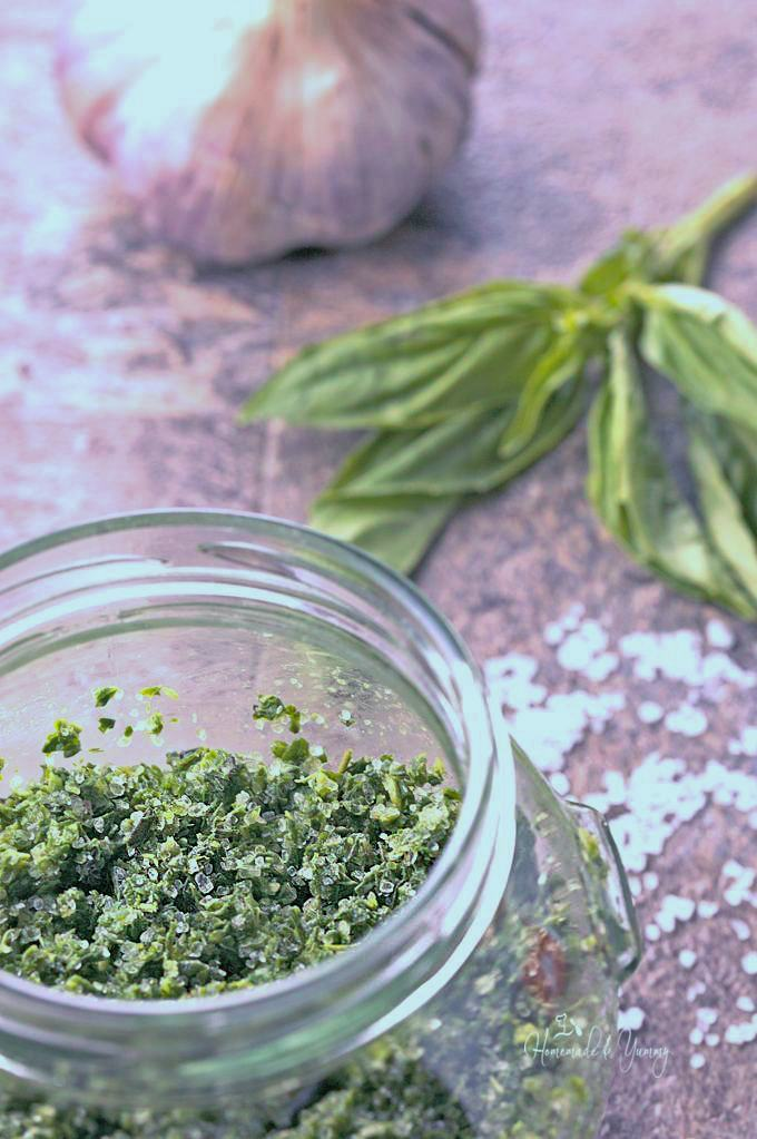 Overhead shot of the herb salt in a jar.