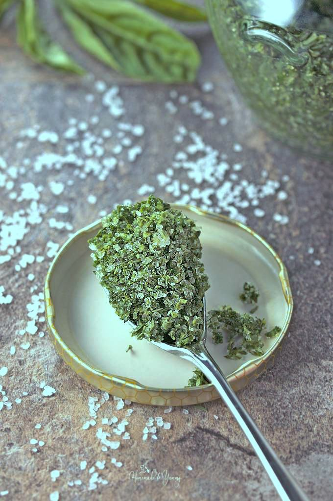 Close up of some of the herb salt on a spoon.