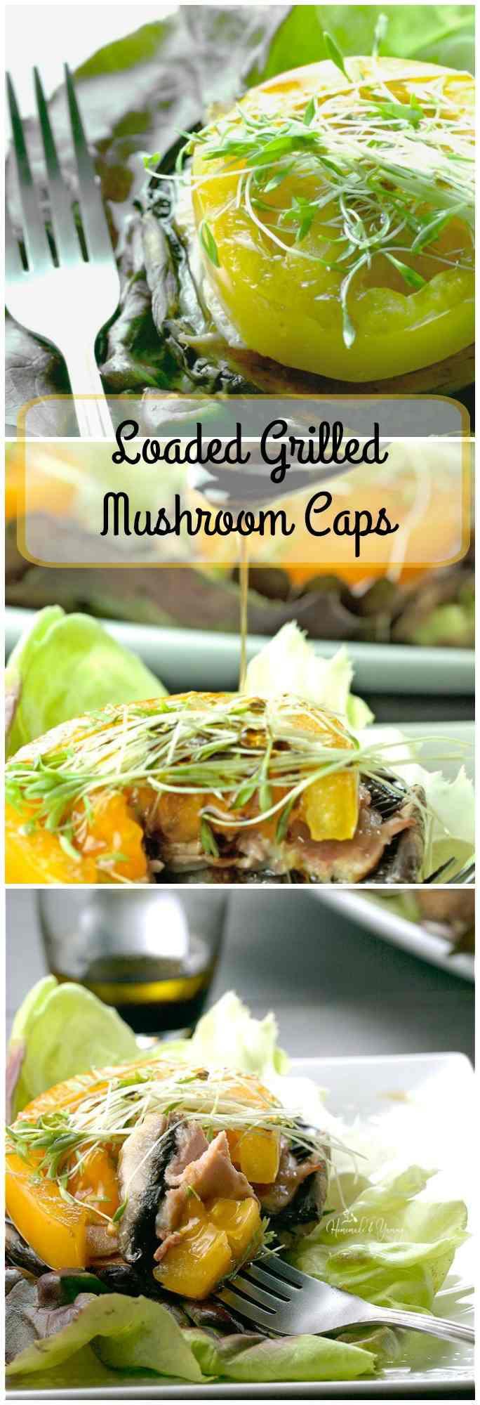 Loaded Grilled Mushroom Caps long pin image.