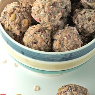 "Superfood Trail Mix Bites are a no-bake, easy to make, nutritious snack. Perfect for ""on the go"" kids and adults. 