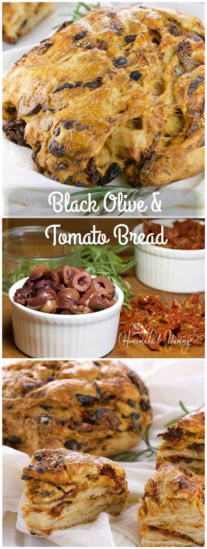 Black Olive & Tomato Bread is full of savoury flavour packed with pieces of olives and sun-dried tomatoes. | homemadeandyummy.com