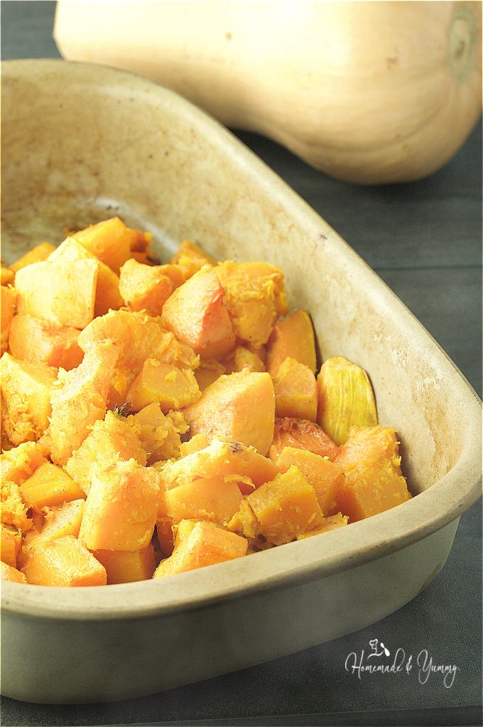 Roasted squash in a baking pan right out of the oven.