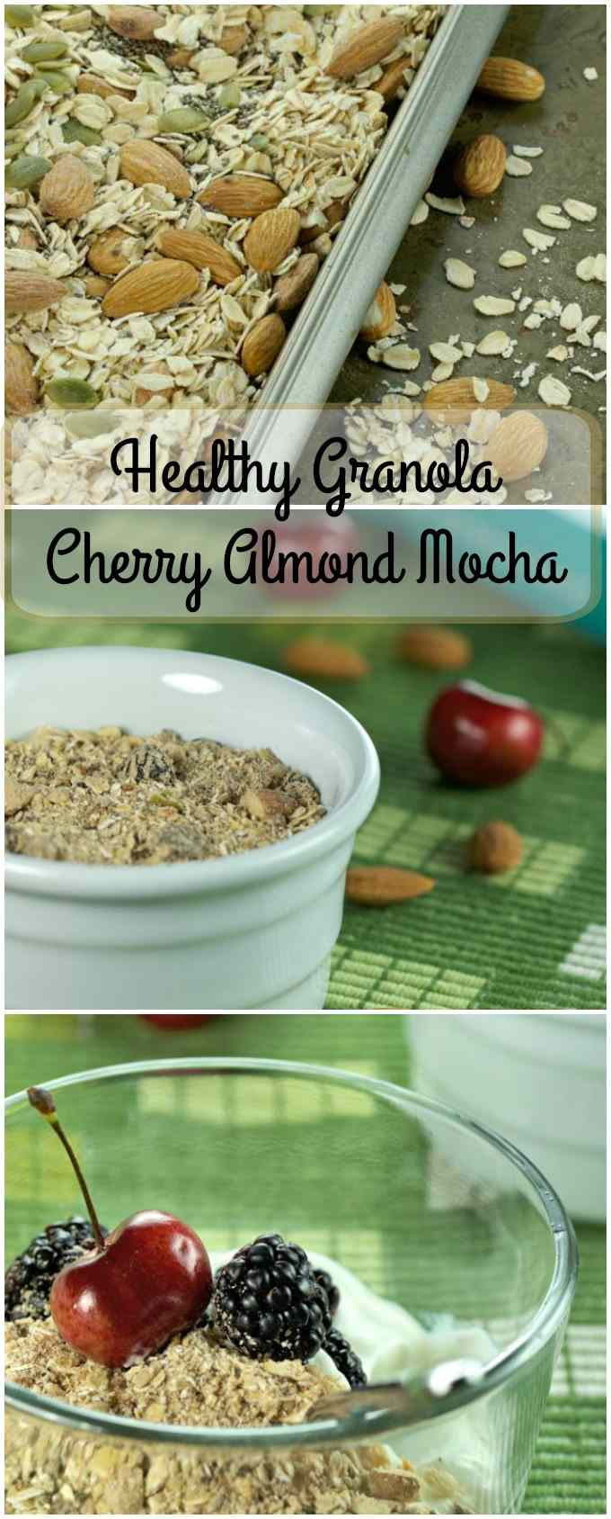 Healthy Granola Cherry Almond Mocha long pin image.