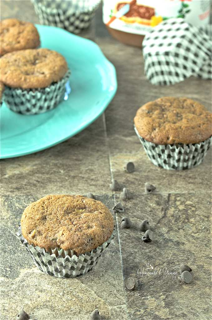 Nutella Chocolate Chip Zucchini Muffins are perfect for afternoon breaks, after school snacks or even breakfast. Moist and light with a great chocolate flavour. | homemadeandyummy.com