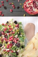 Harvest Salad with Pomegranate Creamy Yogurt Dressing combines the colours and flavours of fall. Perfect starter for holiday meals, or add some turkey and make a complete meal.|homemadeandyummy.com