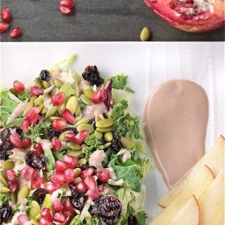Harvest Salad with Creamy Pomegranate Yogurt Dressing