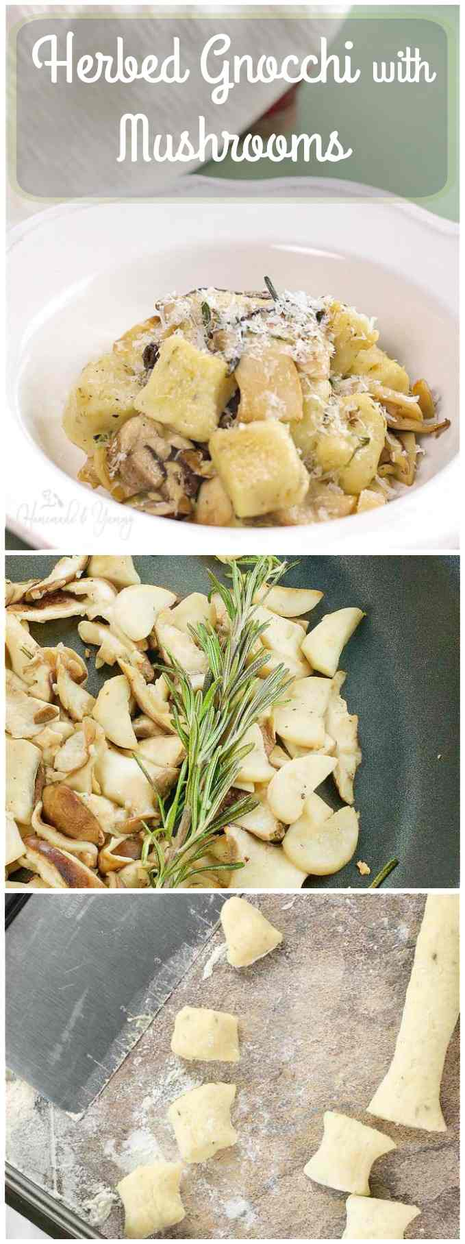 Herbed Gnocchi with Mushrooms long pin image.
