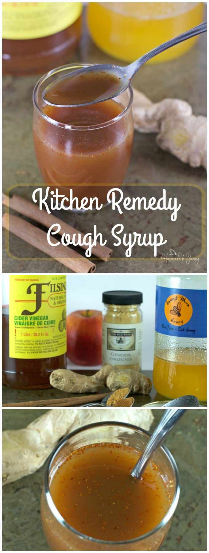 Kitchen Remedy Cough Syrup made from your kitchen pharmacy. All natural ingredients to help you feel better. | homemadeandyummy.com