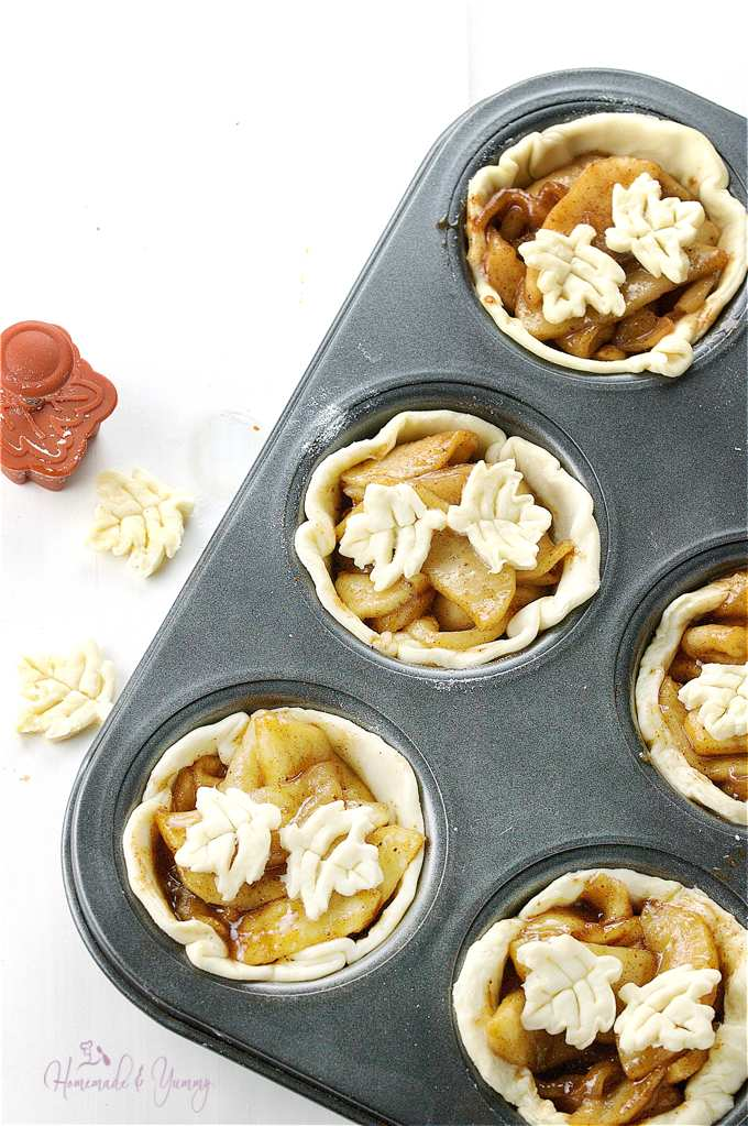 Apples tarts in the pan ready to go into the oven.