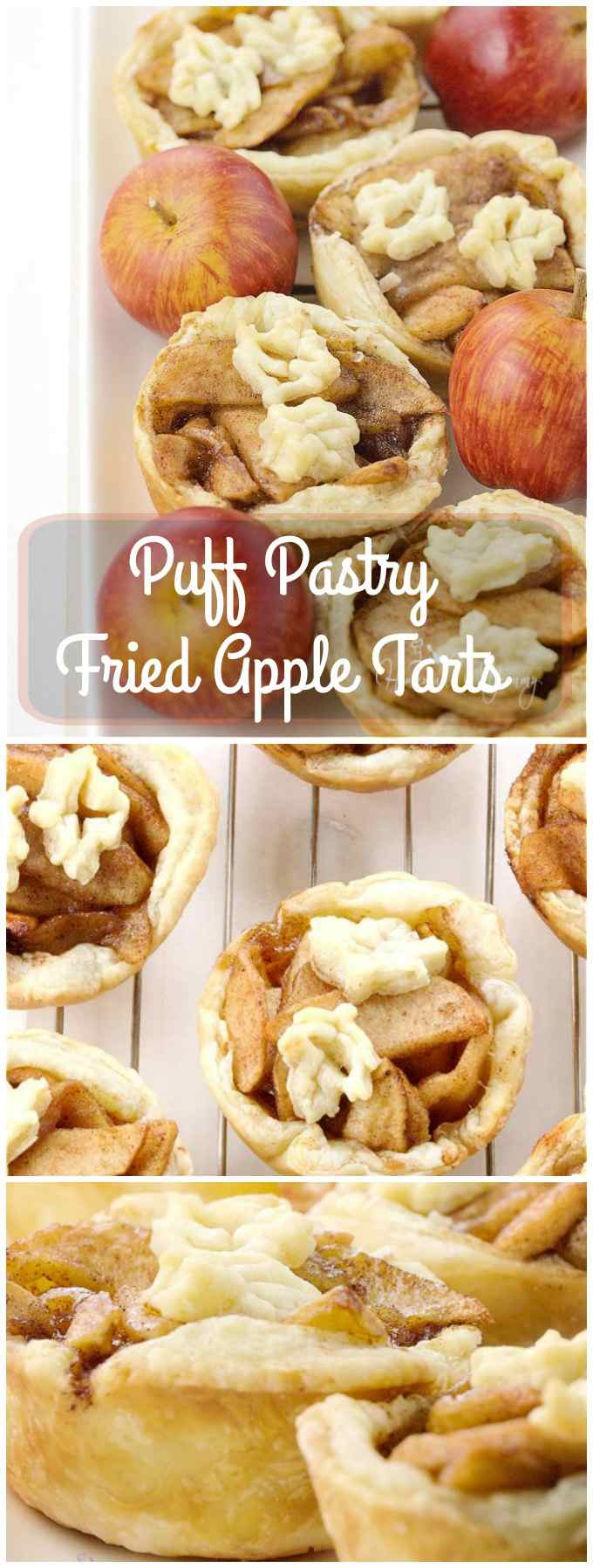 Puff Pastry Fried Apple Tarts long pin image.