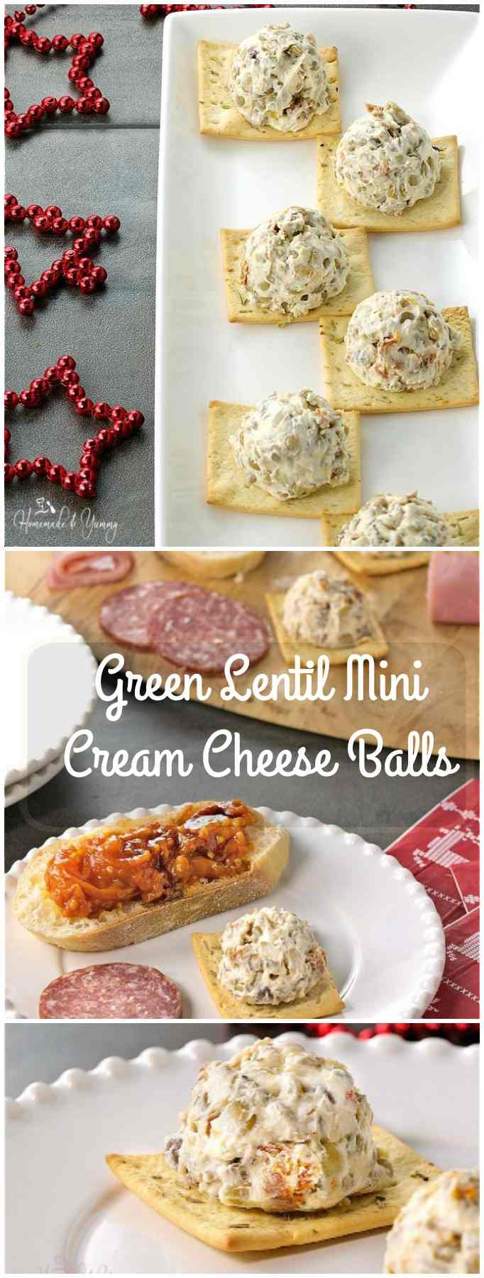 Green Lentil Mini Cream Cheese Balls long pin image.