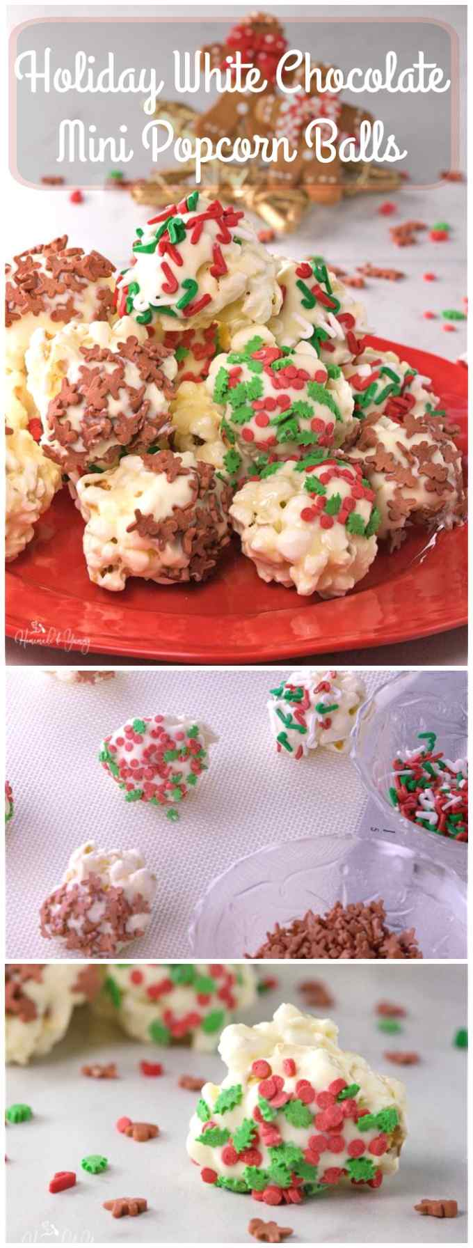 Holiday White Chocolate Mini Popcorn Balls are the perfect addition to any cookie tray. Bite size balls of popcorn, dipped in white chocolate, and decorated with holiday sprinkles. An easy no bake, gluten free treat that makes an awesome food gift too.|homemadeandyummy.com