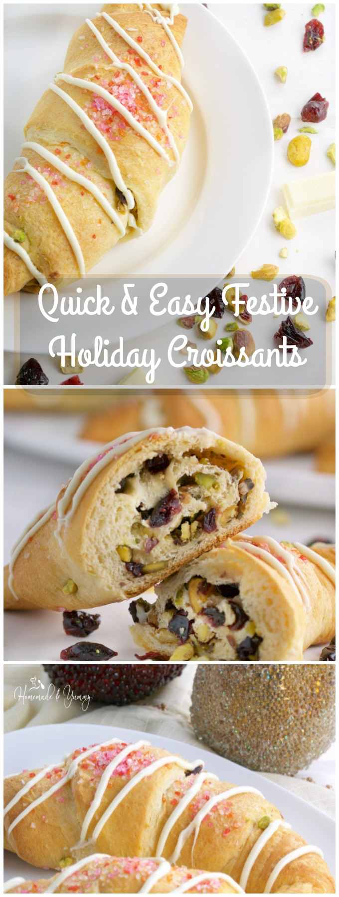 Quick & Easy Festive Holiday Croissants long pin image.
