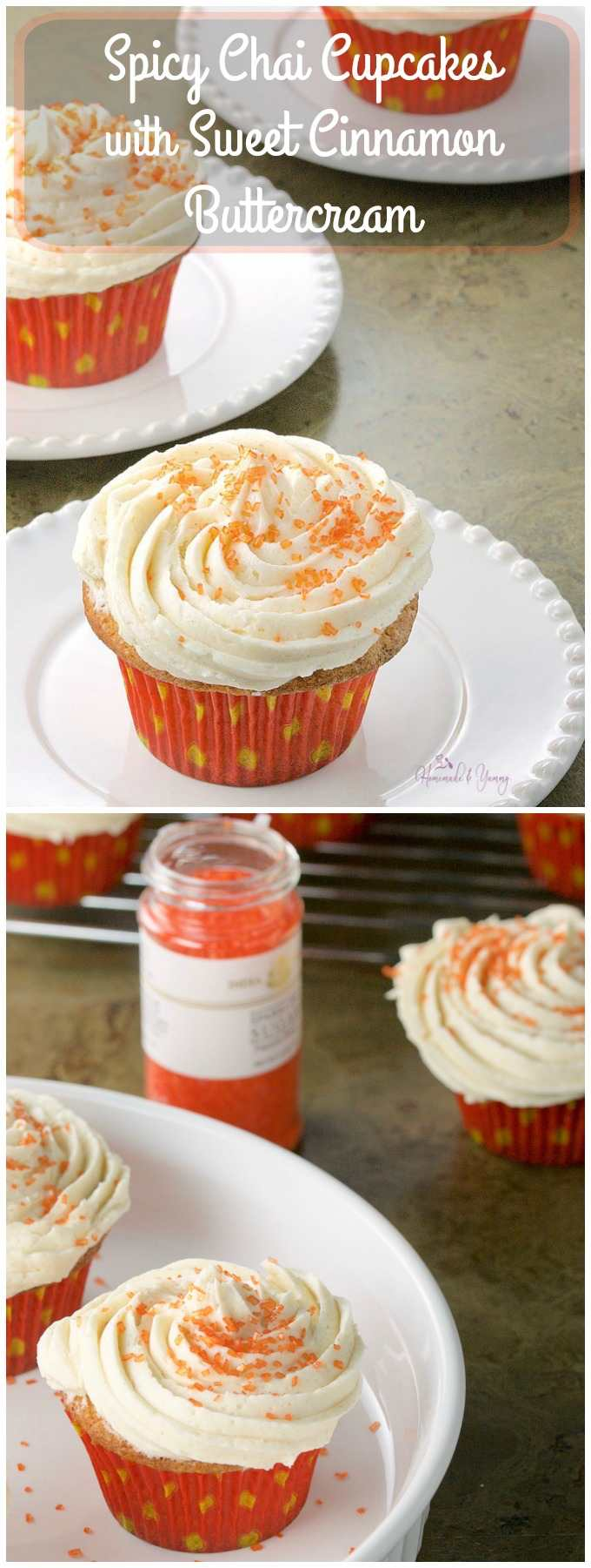 Spicy Chai Cupcakes with Sweet Cinnamon Buttercream long pin image.