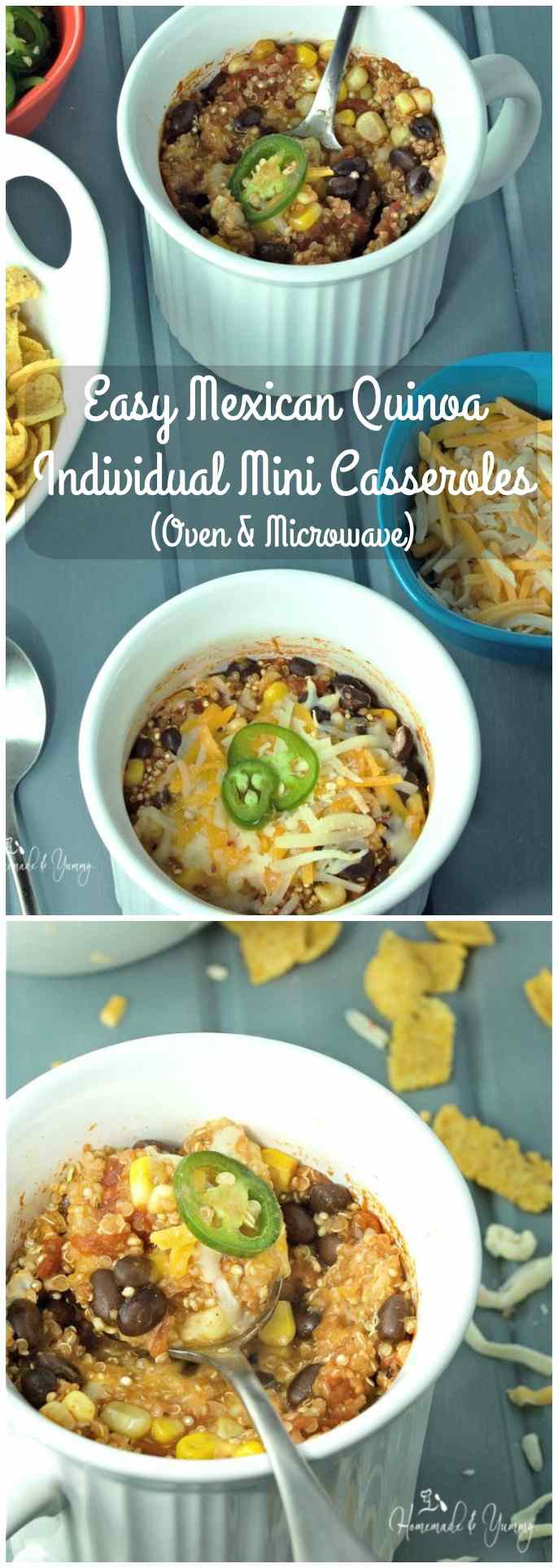 Easy Mexican Quinoa Individual Mini Casseroles long pin image.