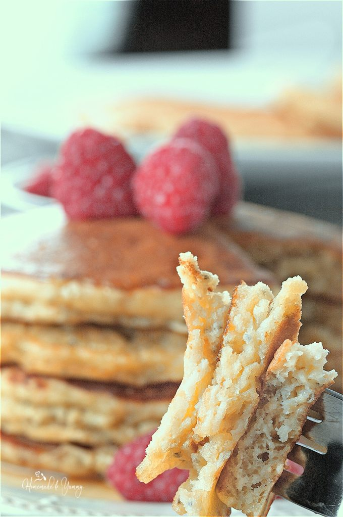 Nutritious Oatmeal Chia Pancakes with Kefir long pin image.