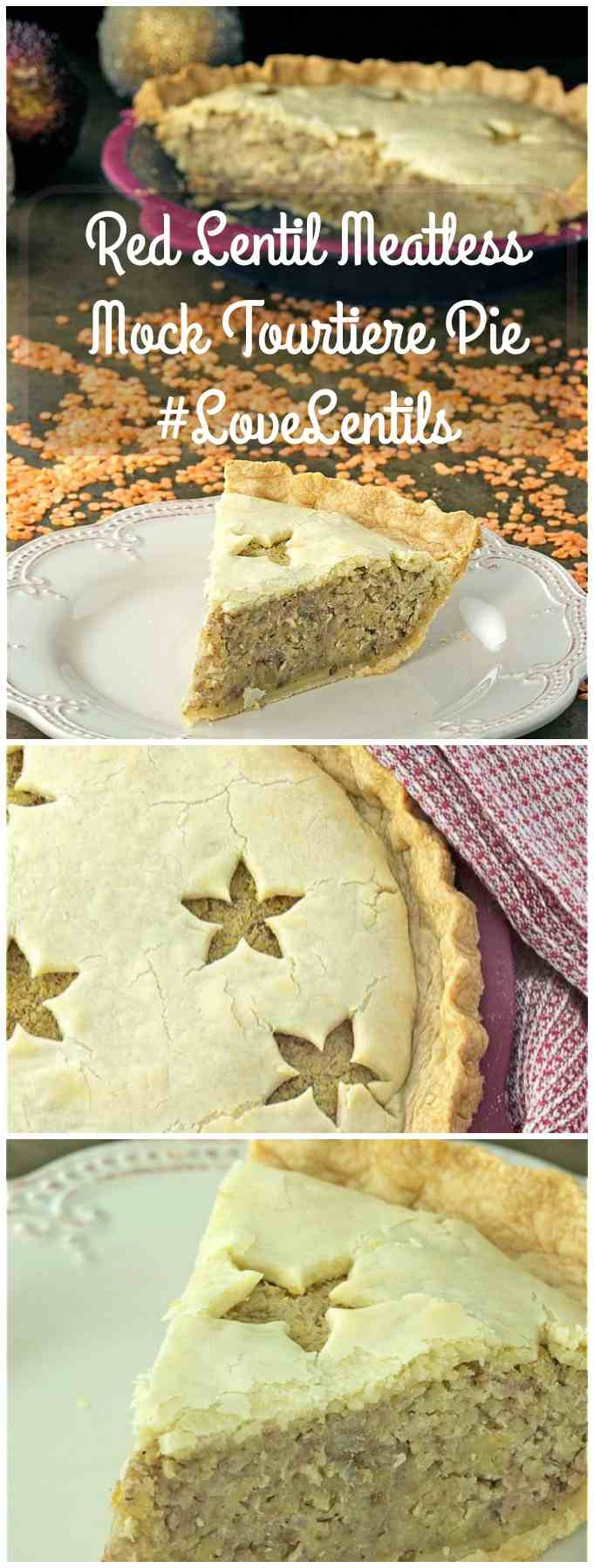 Red Lentil Meatless Mock Tourtiere Pie long pin image.