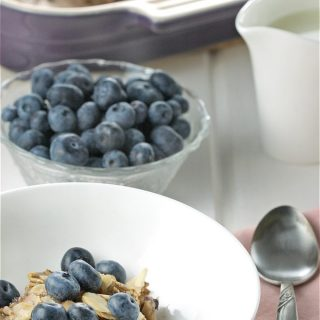 Oatmeal Breakfast Casserole with Blueberries, Maple & Almonds